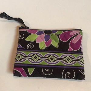 Vera Bradley Burgundy & pink floral zip coin purse